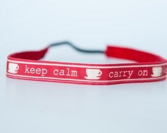 "No Slip Headband Printed Grosgrain Keep Calm 5/8"""