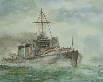Vintage Art Vintage Watercolor Painting Vintage Seascape Painting Vintage Military Painting by David Young WWII Royal Navy Destroyers