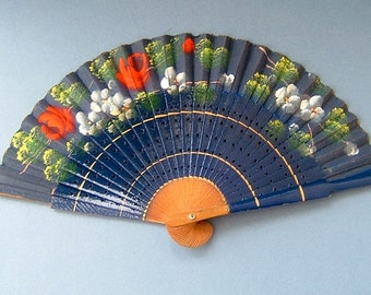 Vintage Hand Fan 1950s Hand Painted Navy Blue with Flowers