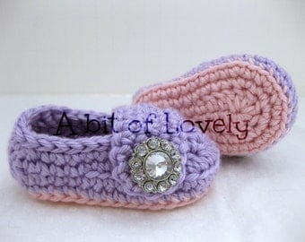 Spring Baby Girl Shoes / Booties - Pink & Purple Jewel - YOUR choice size - (newborn - 12 months) - photo prop - children