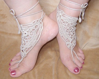 Light beige triangle crochet  barefoot sandals.