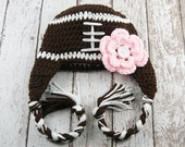 Girl Football Hat Crochet Baby Photography Prop Shower Gift