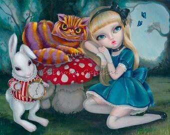 Alice In Wonderland SIGNED PRINT Simona Candini Fantasy Fairytale Fairy Big Eyes Cheshire Cat Rabbit Art