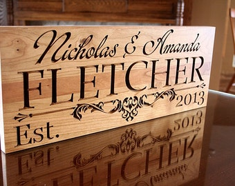 Family Name Sign, Last Name Sign, Carved Wedding Sign, Wedding Sign, Wedding Date Sign, Established Sign, Benchmark Custom Signs Cherry IG