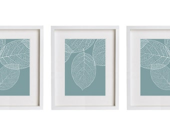 Set of Three Prints - French Blue Wall Art - Modern Botanical Leaves