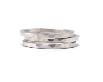 Sterling Silver Ring Set - Set of 3 Ring Bands - Whisper Thin RIngs - Hammered Texture - Available in sizes 5, 5.5, 6, 6.5, 7, 7.5 and 8