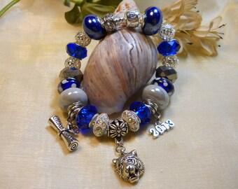 Custom Graduation Bracelet, School or Team Charm Bracelet, Graduation Gifts, European Style Beaded Bracelet