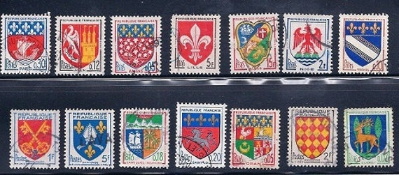 French Vintage Stamps - Coats of Arms France -  1950s,1960s