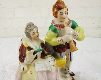 French Courting Scene Vintage Porcelain Figurine- Handpant Japan- Handpainted China- Edwardian Costume Love Scene with Dog- Romantic- Music