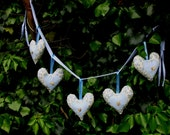 Blue Floral Fabric Heart Garland