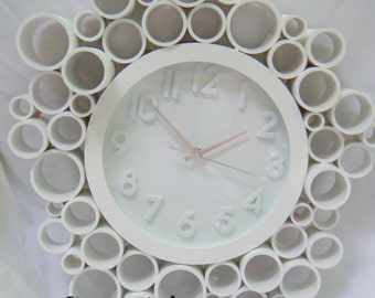 Glossy White Retro Wall Clock made with Recycled PVC, Super Unique and fun