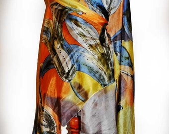 Hand painted silk shawl/Painting silk shawl/Woman silk shawl/Silk scarf/Painted by hand shawl/Blue and orange flowers/painted silk by/H0062