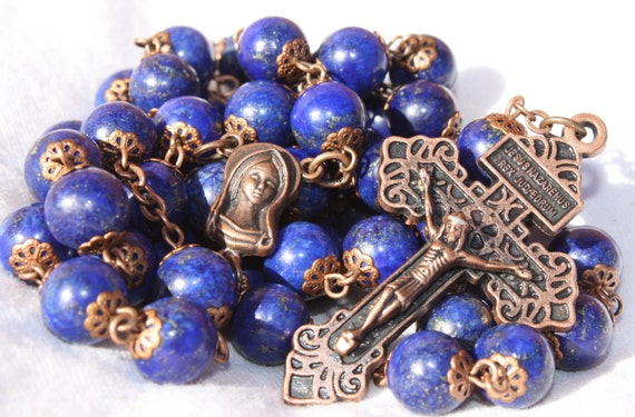Lapis and Copper 10mm oversized Rosary handmade in Oklahoma