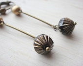 Black and Gold Clip on Earrings, Brass Bar Clip earring, Long Dangle Clipon