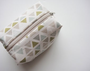 Triangle Box Pouch, Blue, Green, Brown Triangle, Geometric, Zipper Pouch