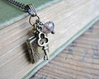 Book Locket Necklace with Key Charm, Antique Brass Chain, Cute Necklace, Gift for Her