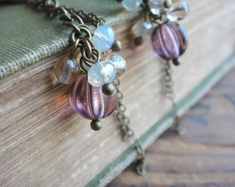 Long Chain with Purple Drop Earrings, Clip on Earrings, Screw Back clip on