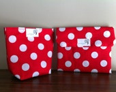 Reusable Lunch Set - Sandwich Wrap Placemat and Snack Pouch - Snack Bag - BPA Free - White Polka Dots on Red