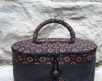 Charming Cloth Covered Oval Box Bag c 1980