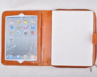 Item No: 8009 Top-level genuine leather portfolio & case for iPad1,iPad2,iPad3 and Tablet PC in waxed brown