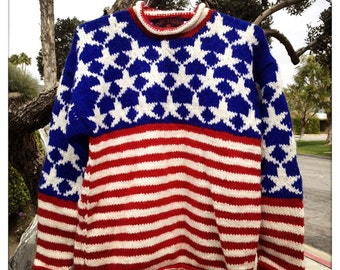 Awesome American Flag Vintage 80s DECHEN Red White & Blue Sweater Jumper - Size Medium