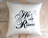 Easter Pillow, He is Risen, Dove, Cottage Decor, Easter Decor, Religious, Holidays
