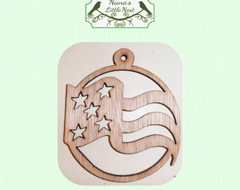 Patriotic Christmas Ornament - Laser Cut Wood