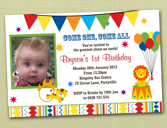 Circus Carnival Birthday Invitations - You Print
