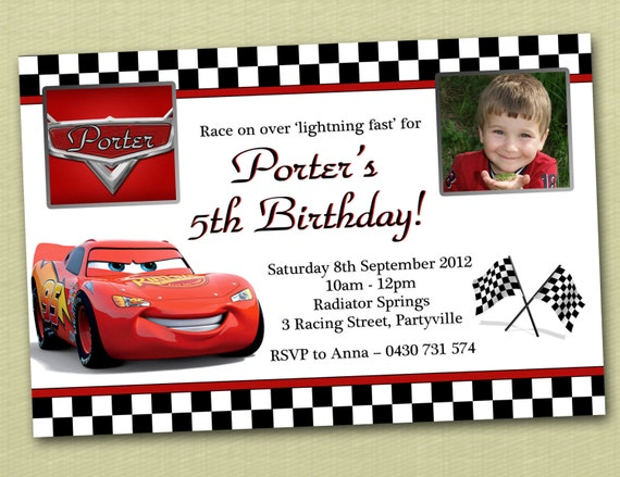 Photo Personalised Cars Birthday Invitations - You Print