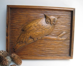 Vintage Folk Art Carved Wood Two Sided Panel Owl and Bird