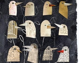 birds I have known 1, birds, bird heads, gold birds, mixed media birds, mixed media collage, mixed media print