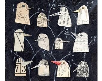 birds I have known 1, birds, bird heads, white birds, mixed media birds, mixed media collage, mixed media print