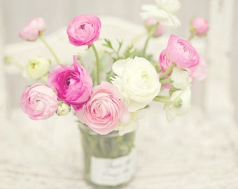 Flower Photography - Pink & White Ranunculus Flowers - French - Cottage Decor - Flowers - Fine Art Photography Print - Pink White Home Decor