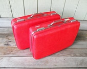 Two Red American Tourister Vintage Suitcase / Hard Sided Luggage