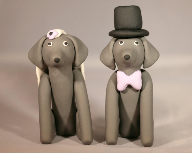 Weimaraner Dog Wedding Cake Topper