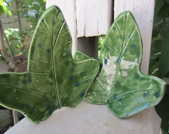 Green Leaf Ceramic Spoon Rests Kitchen Decor Holiday Gift