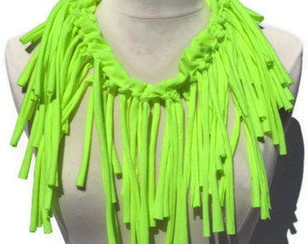 Womens Shredded Fringe Neon Safety Yellow Upcycled Infinity Tshirt Scarf /Necklace