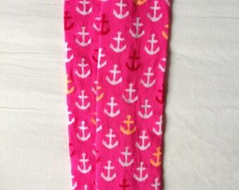 Pink Tangerine Anchor Baby Legs / Girl Leg Warmers- Free Domestic Shipping