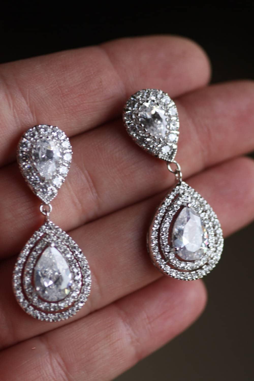 Bridal Crystal Drop Earrings Wedding Jewelry Swarovski