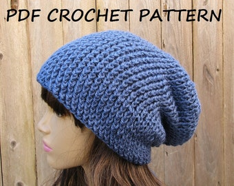 CROCHET PATTERN - Slouchy  Hat, Crochet Pattern PDF,Easy, Pattern No. 41