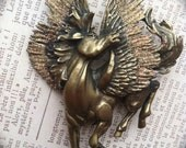 Gold Glitter Wings Pegasus Vintage Brooch Pin