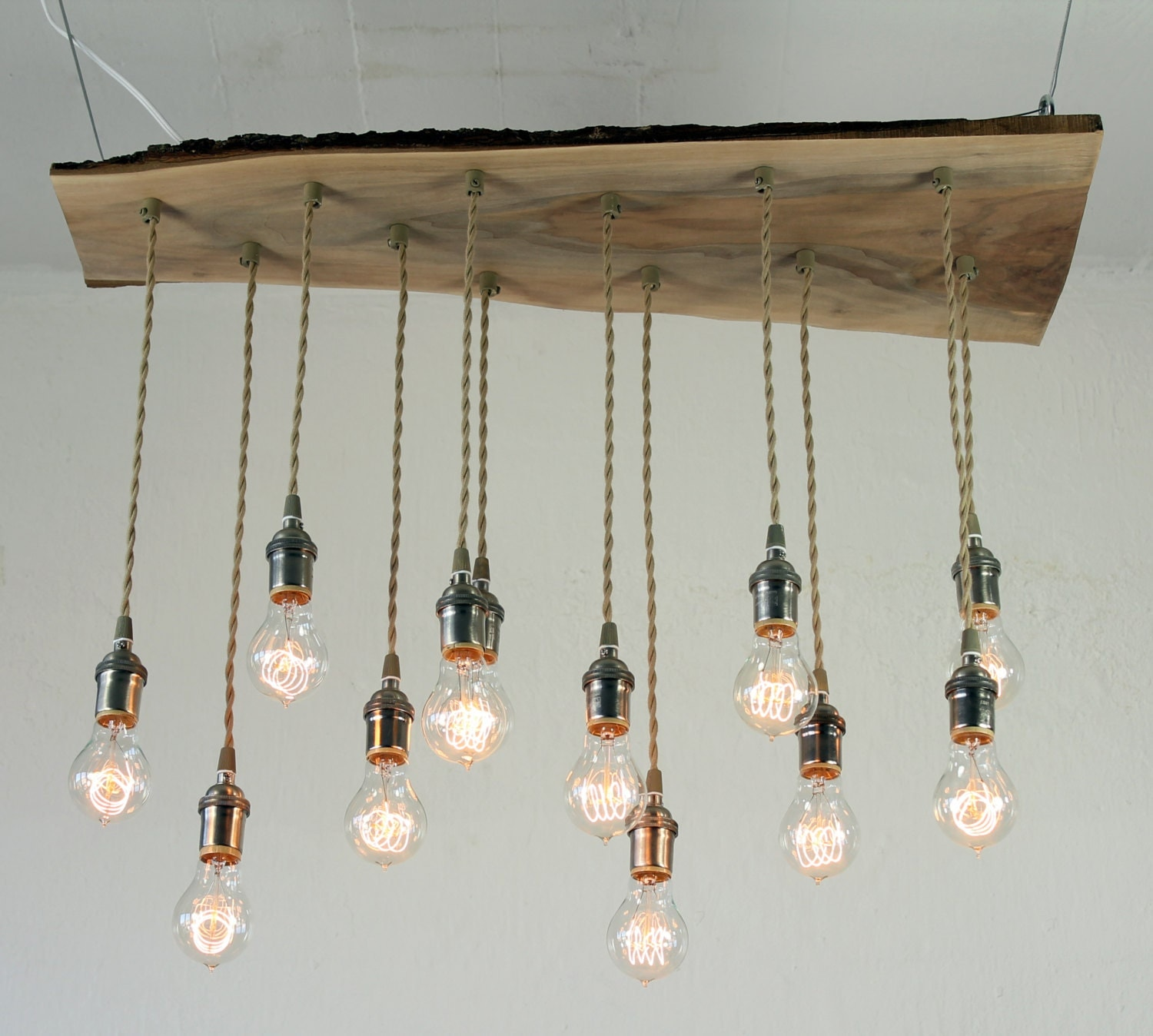 Just Reduced Rustic Handmade 3 Bulb Hanging Light Fixture Or: Salvaged Live Edge Wood Chandelier With Victorian Edison Bulbs