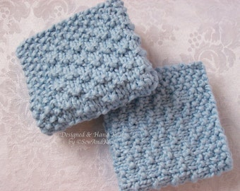 Spa Cloth / Wash Cloth Organic Cotton Collection - Set of Two Hand Knit Face / Spa / Wash Cloths in Blue For The Ultimate Luxury Bath