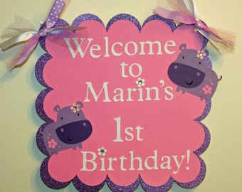 Glittery Purple Hippo Door or Welcome Sign ,  Hippo Birthday,  Hippo Party, First Birthday, Hippo Baby Shower