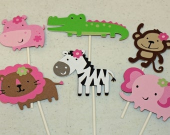 12 Girly Jungle Animal Cupcake Toppers, Girl Jungle Birthday, Jungle Baby Shower, Girly Jungle Party, pink brown green jungle, jungle decor