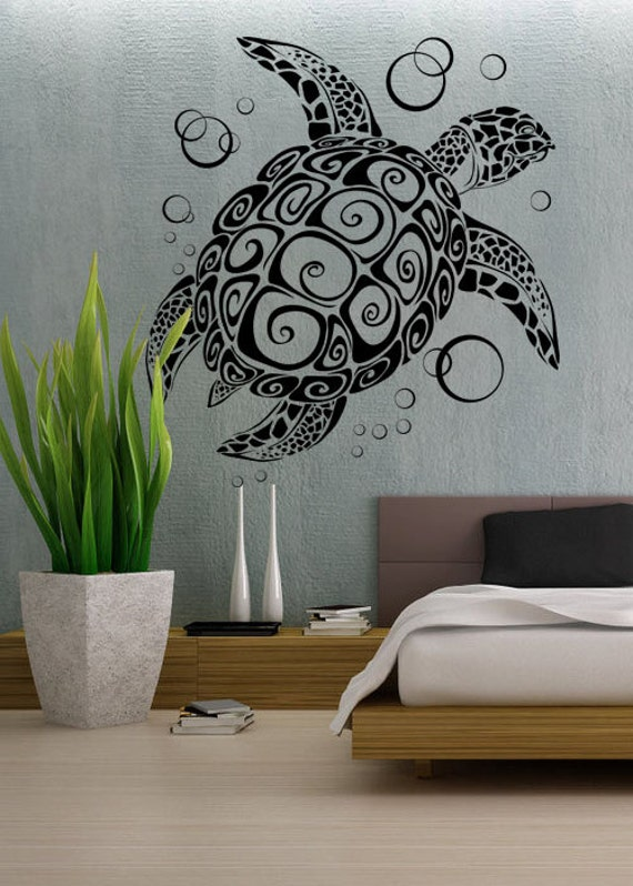 sea turtle uber decals wall decal vinyl decor art by. Black Bedroom Furniture Sets. Home Design Ideas