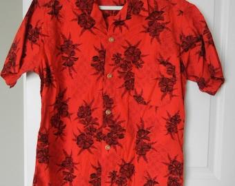 Vintage Hookano Shirt Hawaiian Shirt red Shirt medium Shirt American Vintage made in USA 1960s Made in Hawaii USA Bright Gold Shirts