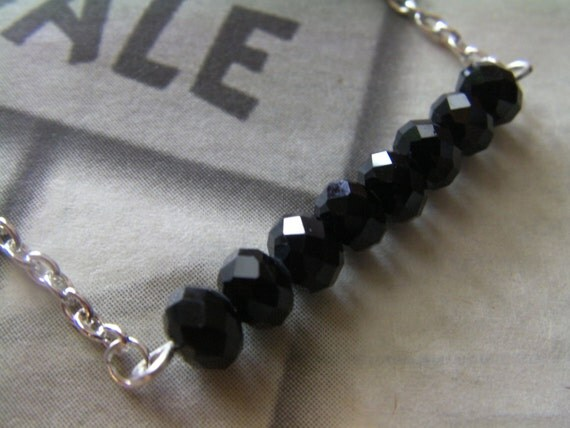 Black Beaded Bar Necklace, Sparkly Faceted Glass Beads, Silver Chain, Toggle Clasp, Handcrafted Jewelry, Gift, Girl, Woman, lacwe
