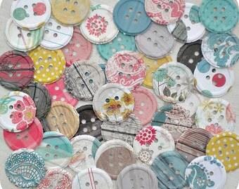 Summer Cottage Paper Buttons - 2.00 SALE - Set of 46 - Button Die Cut-Button Embellishment-Card Making Supplies-Paper Confetti-Paper Destash