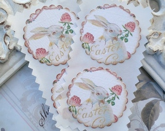 Easter Bunny Stickers (12) Easter Stickers-Shabby Easter Sticker-Treat Bag Stickers-Easter Favor Stickers-Easter Embellishment-Easter Labels